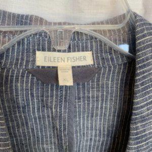 Eileen Fisher Jackets & Coats - Eileen Fisher Blue Striped Linen Blazer